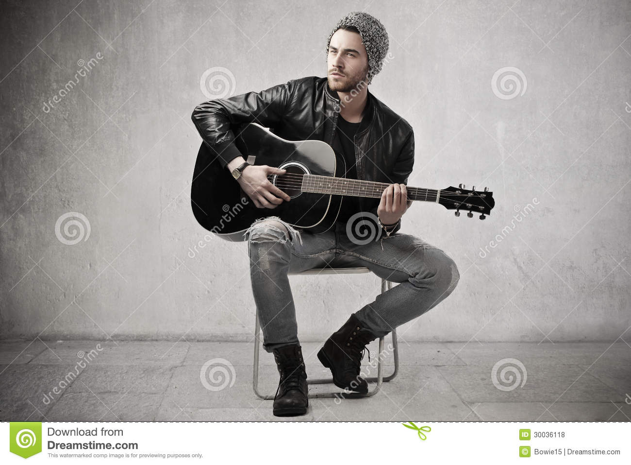 guitar playing chair cheap table chairs man a stock photo image of music sing