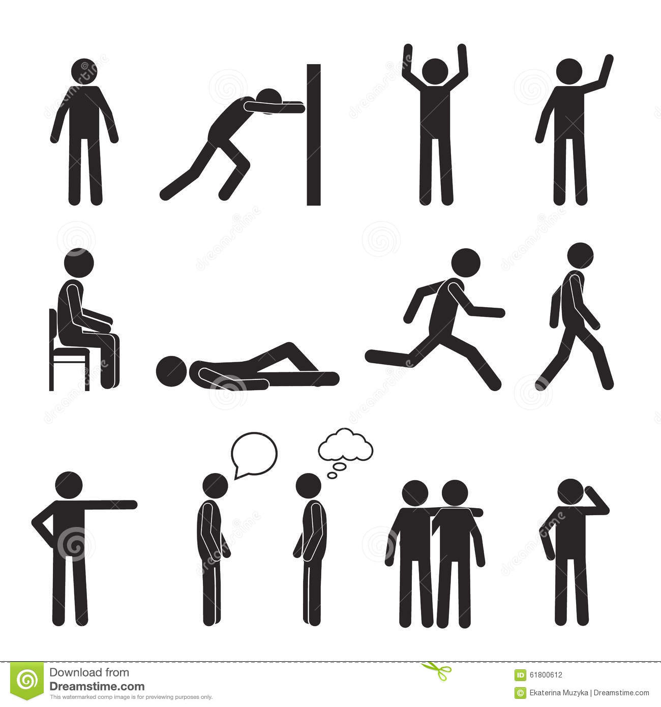 Man Posture Pictogram Icons Set Human Body Action Stock