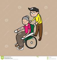Man Pushing Wheel Chair For Mom Stock Vector - Image: 45125694