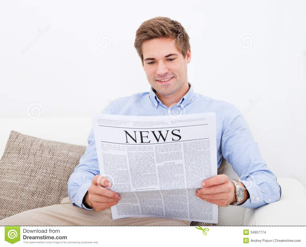 Man Reading Newspaper Stock Photo Image Of Important