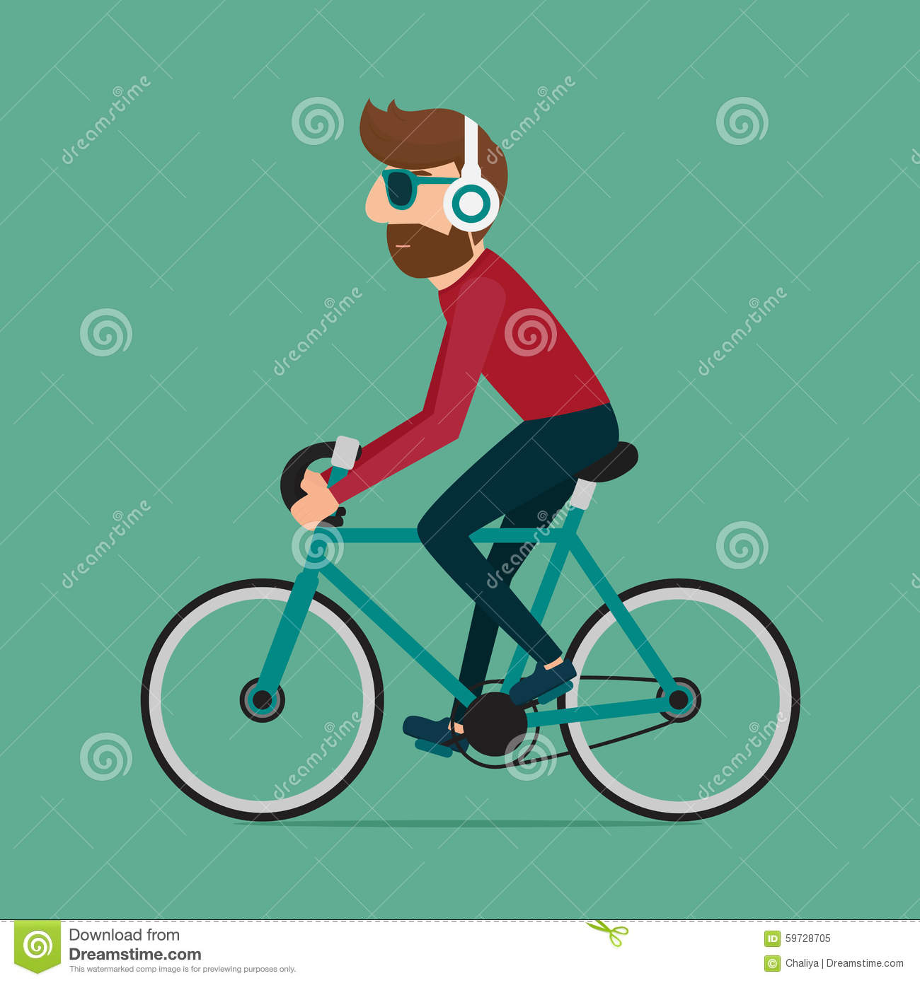 Man Riding Bike Hipster Character On Bicycle Stock