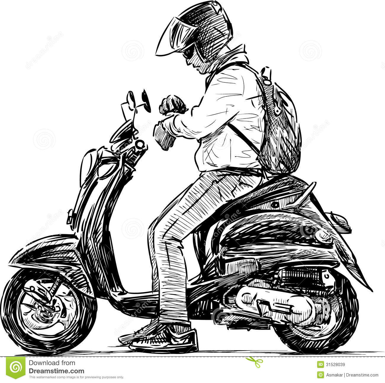 Man On A Scooter Stock Vector Illustration Of Helmet