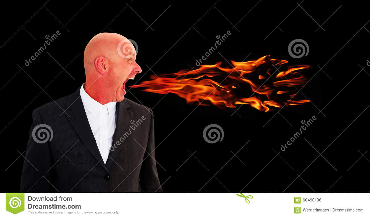 man screaming with flames