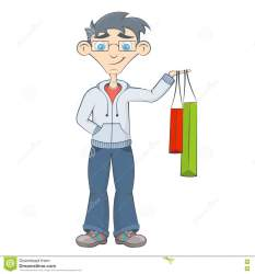 shopping bags cartoon teenager boy keeps purchases market happy hand preview