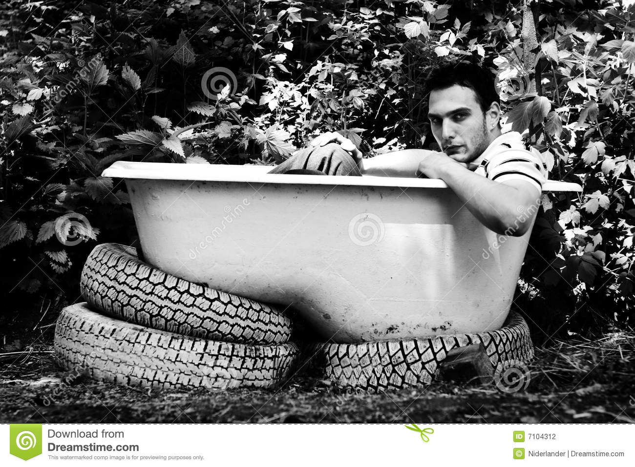 Man Sitting In The Bathtub Stock Photography  Image 7104312