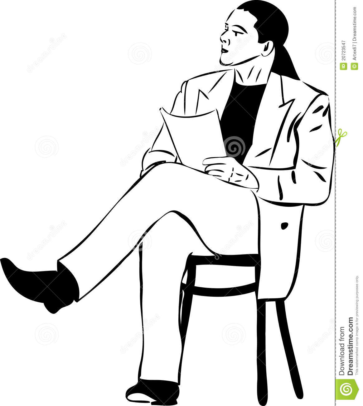 Man Sitting On A Chair Reading Royalty Free Stock