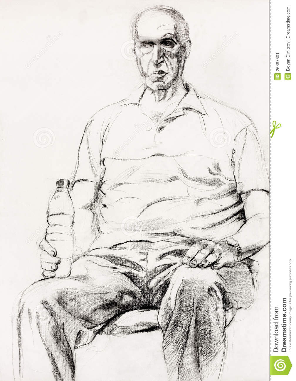 Man sitting sketch stock illustration. Illustration of