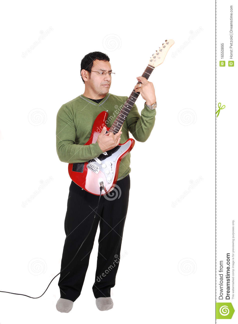 Man standing with guitar stock image Image of black  16550895