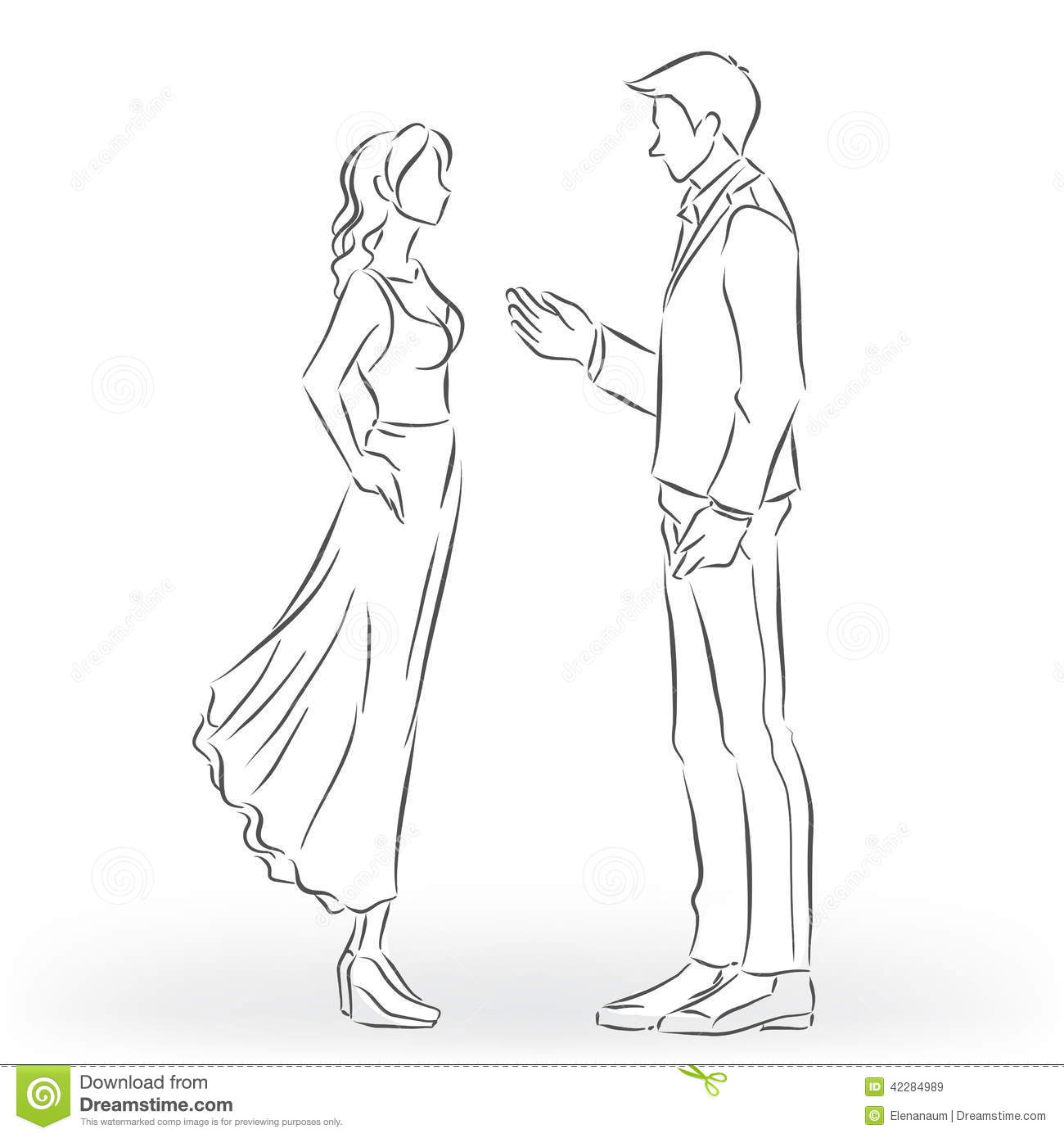 Man In The Suit And Woman In The Dress Are Talking Stock