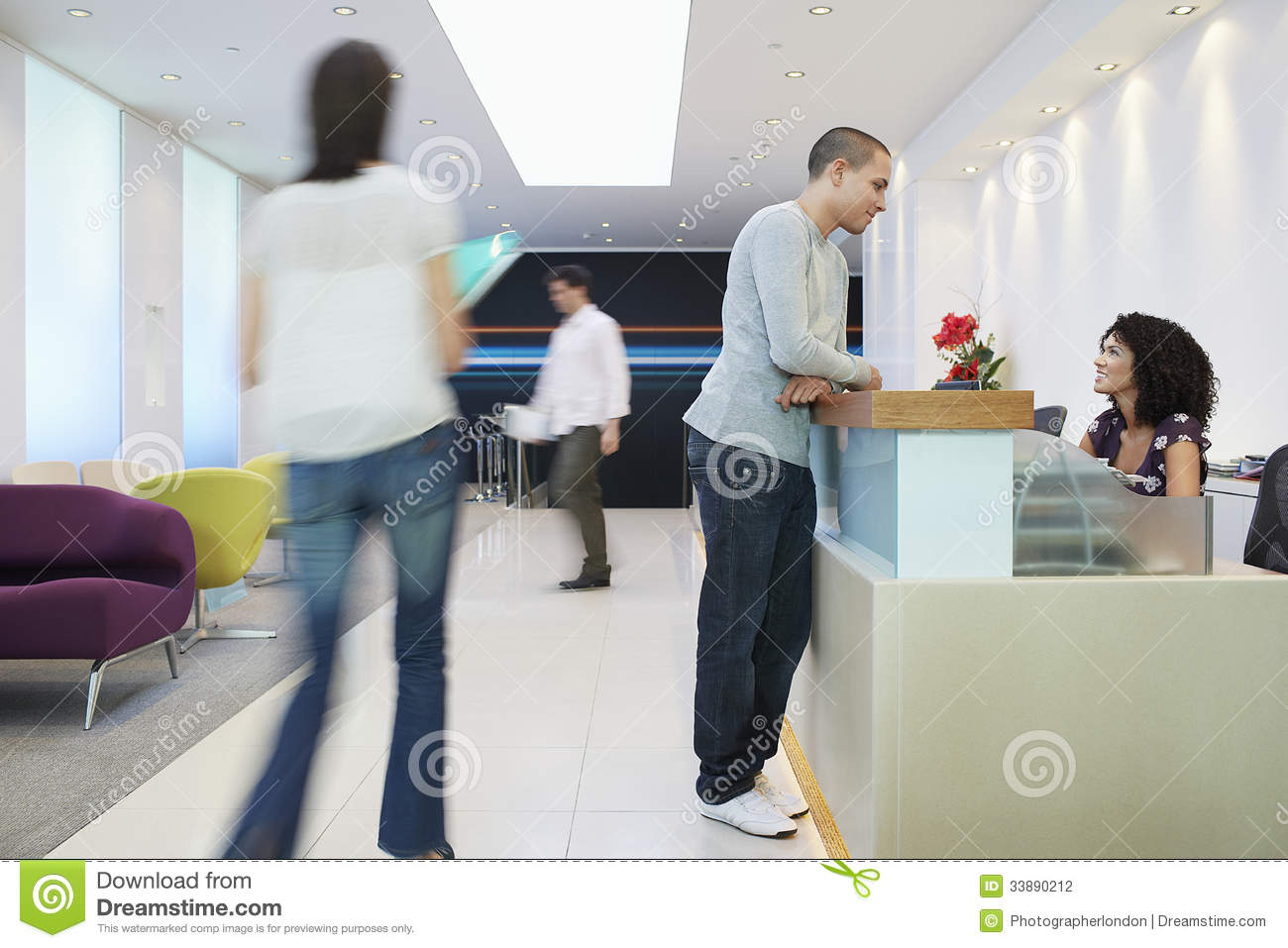 modern sofa plans free pulsar dark brown leather sectional set man talking to receptionist at office stock photo - image ...