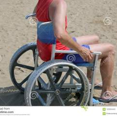 Tank Chair Wheelchair Swivel Chairs Joss And Main Man With Shorts On Wheel Sandy Beach In Summer Stock Photo Top