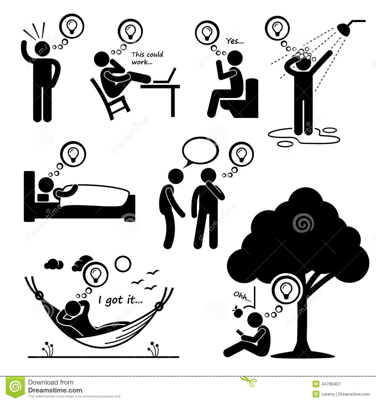 Man Thought Of New Idea Cliparts Icons Stock Vector