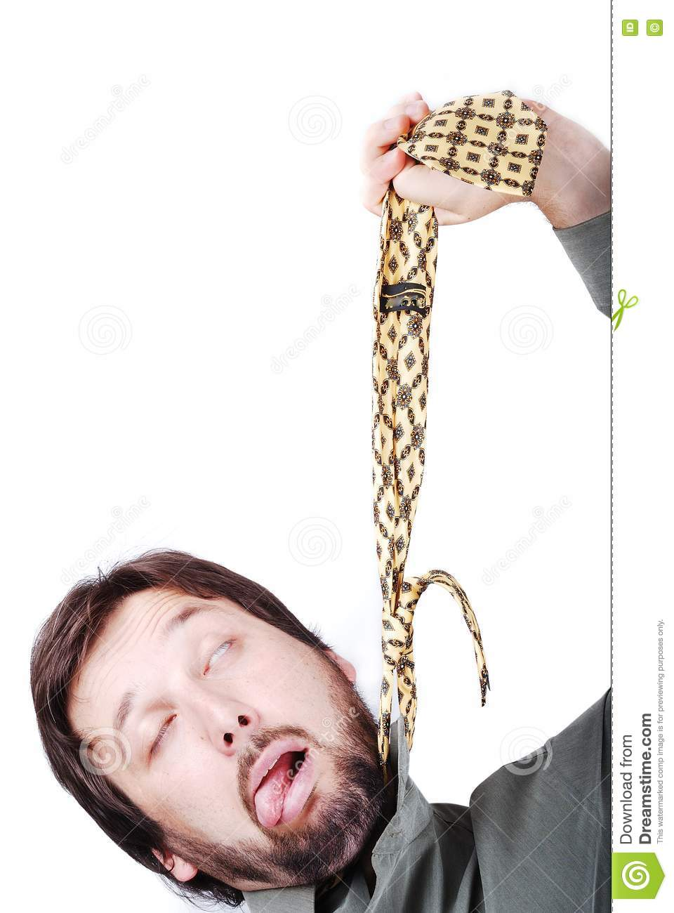 Man Is Trying To Hang Up Himself Stock Photos Image