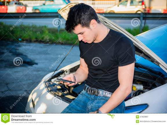 Man Trying To Repair Car And Seeking Help On Phone Stock Image Image Of Caucasian Automotive