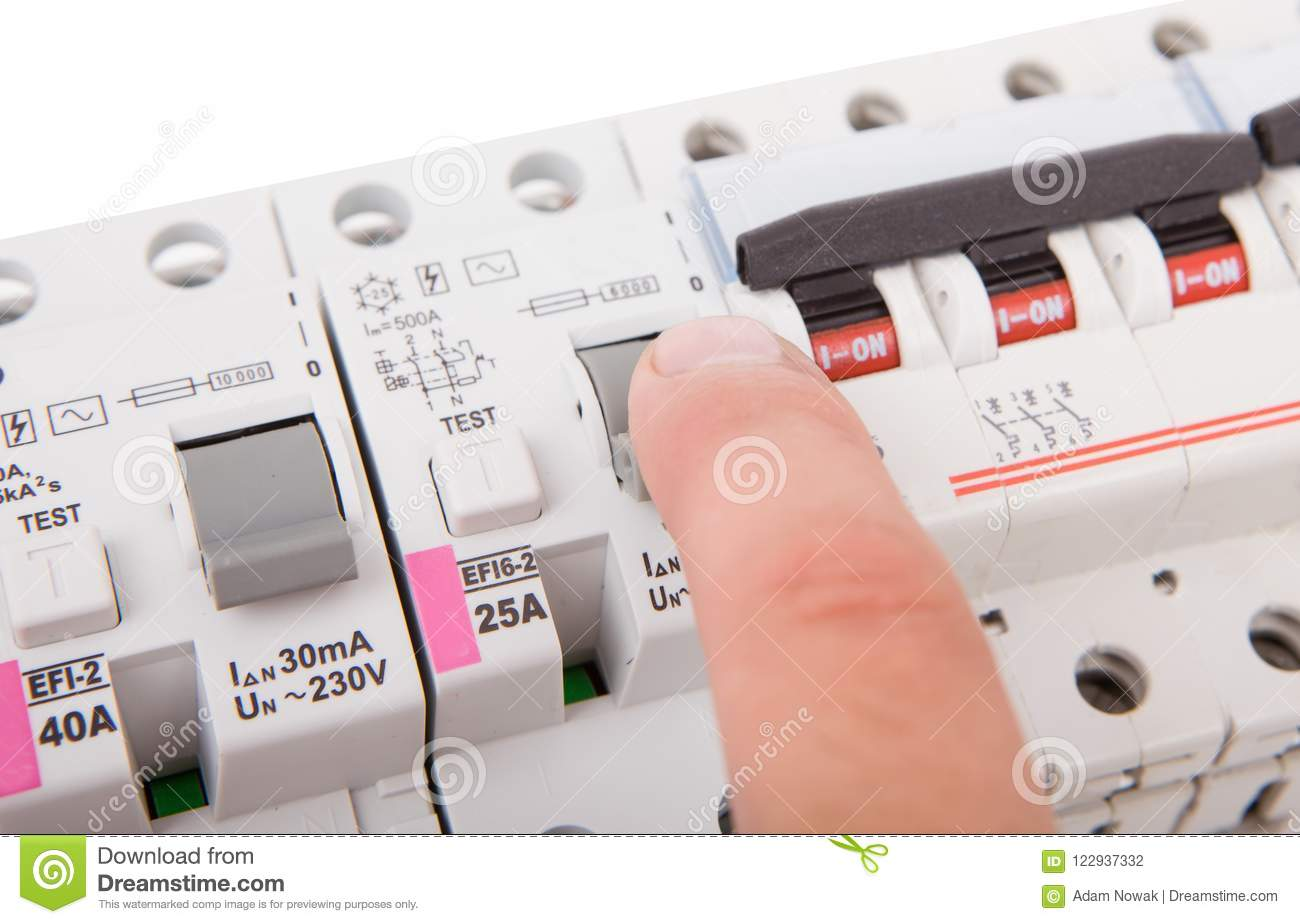 hight resolution of man turning off the fusebox