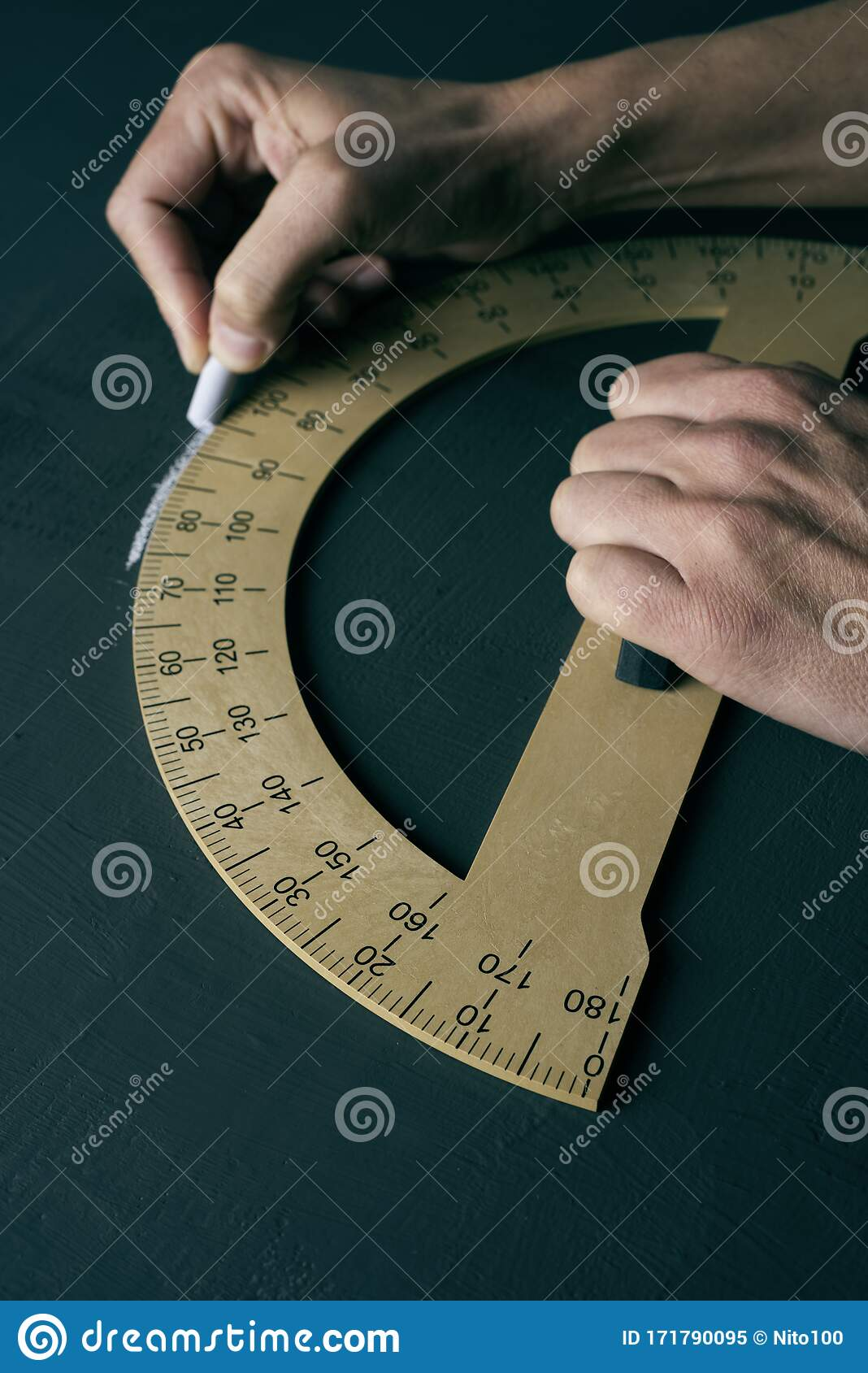 Man Using A Protractor Stock Image Image Of Drawing