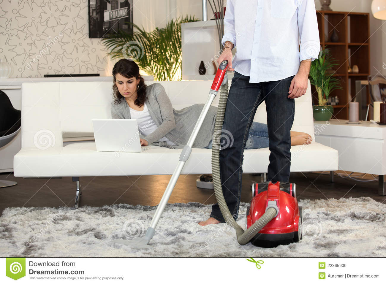 Man Using A Vacuum Cleaner Stock Photo Image Of Living