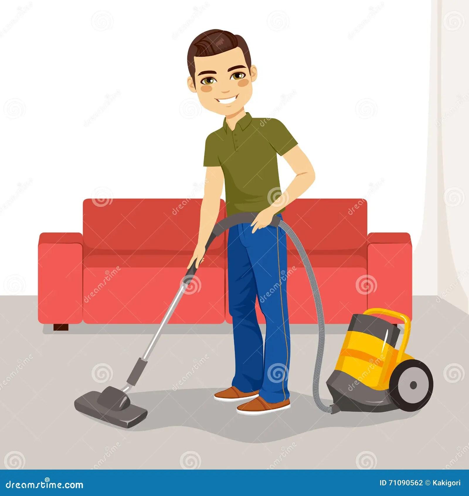 Man Vacuum Cleaner Stock Vector