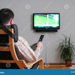Chairs To Watch Tv Fishing Chair Ebay Uk Man Watching Stock Photo Image Of Sitting
