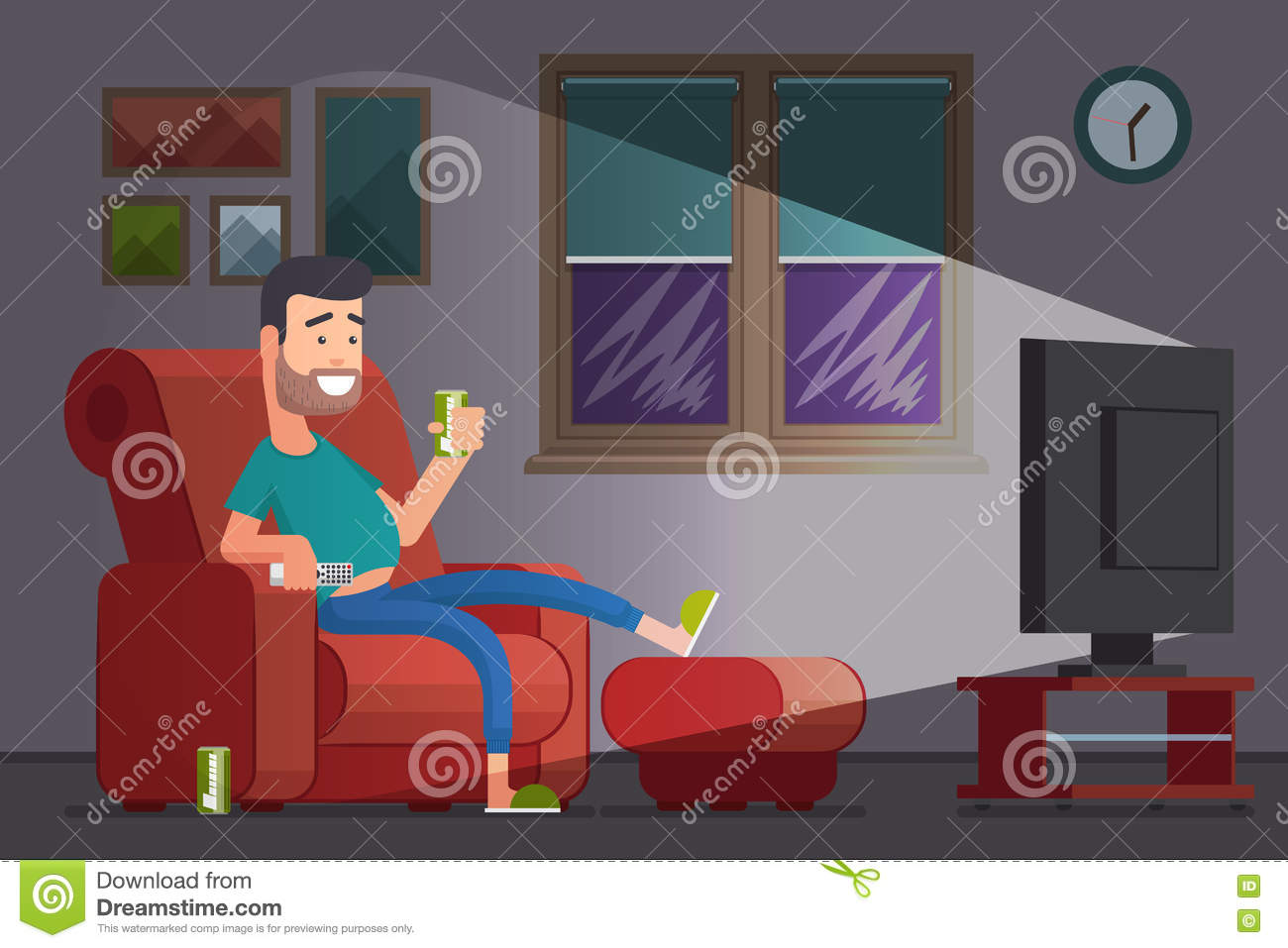 best tv watching chair new herman miller aeron review cartoon of lazy drinking man vector illustration