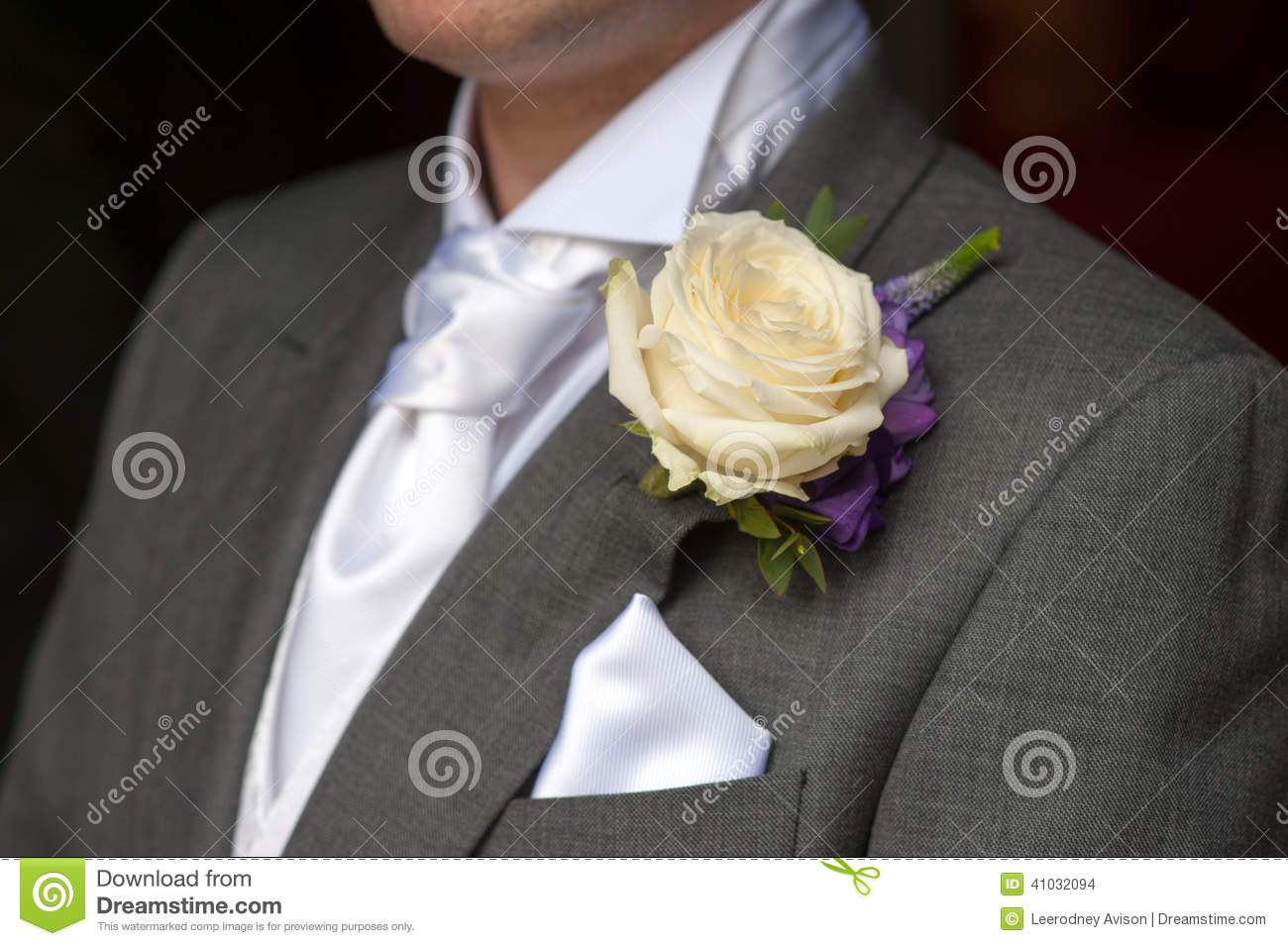 Man Wearing A Rose Buttonhole Stock Photo