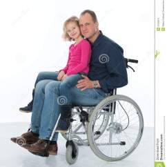 Wheelchair Man Christmas Chair Covers Dubai In With Daughter Stock Photos Image 37634913