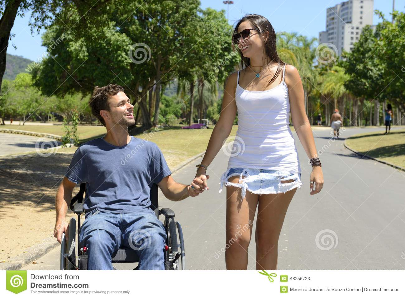 wheelchair man meditation chair in and girlfriend stock image 48256723