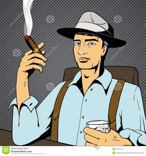 Man With Whiskey And Cigar Pop Art Vector Stock