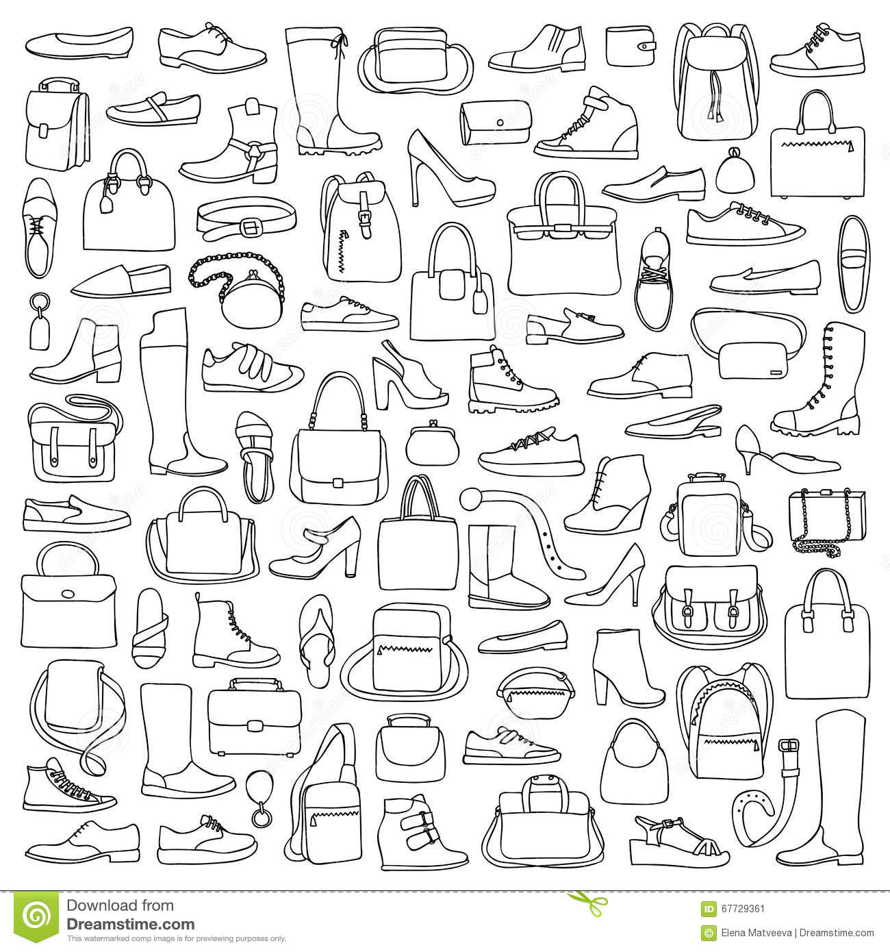 Man And Woman Doodle Shoes And Bags Stock Vector