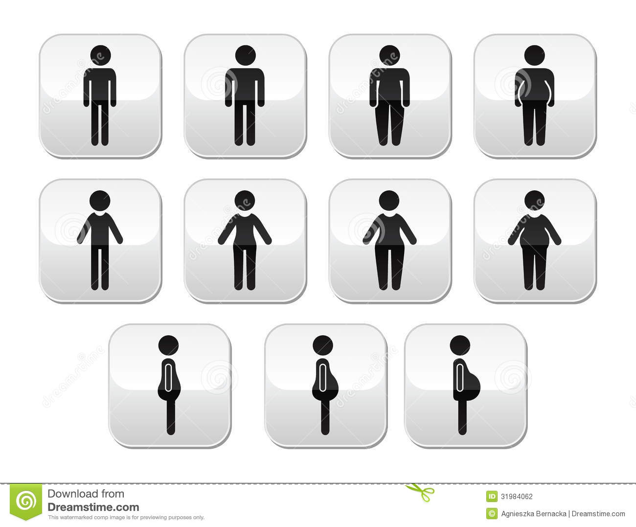 Man And Women Body Type Buttons