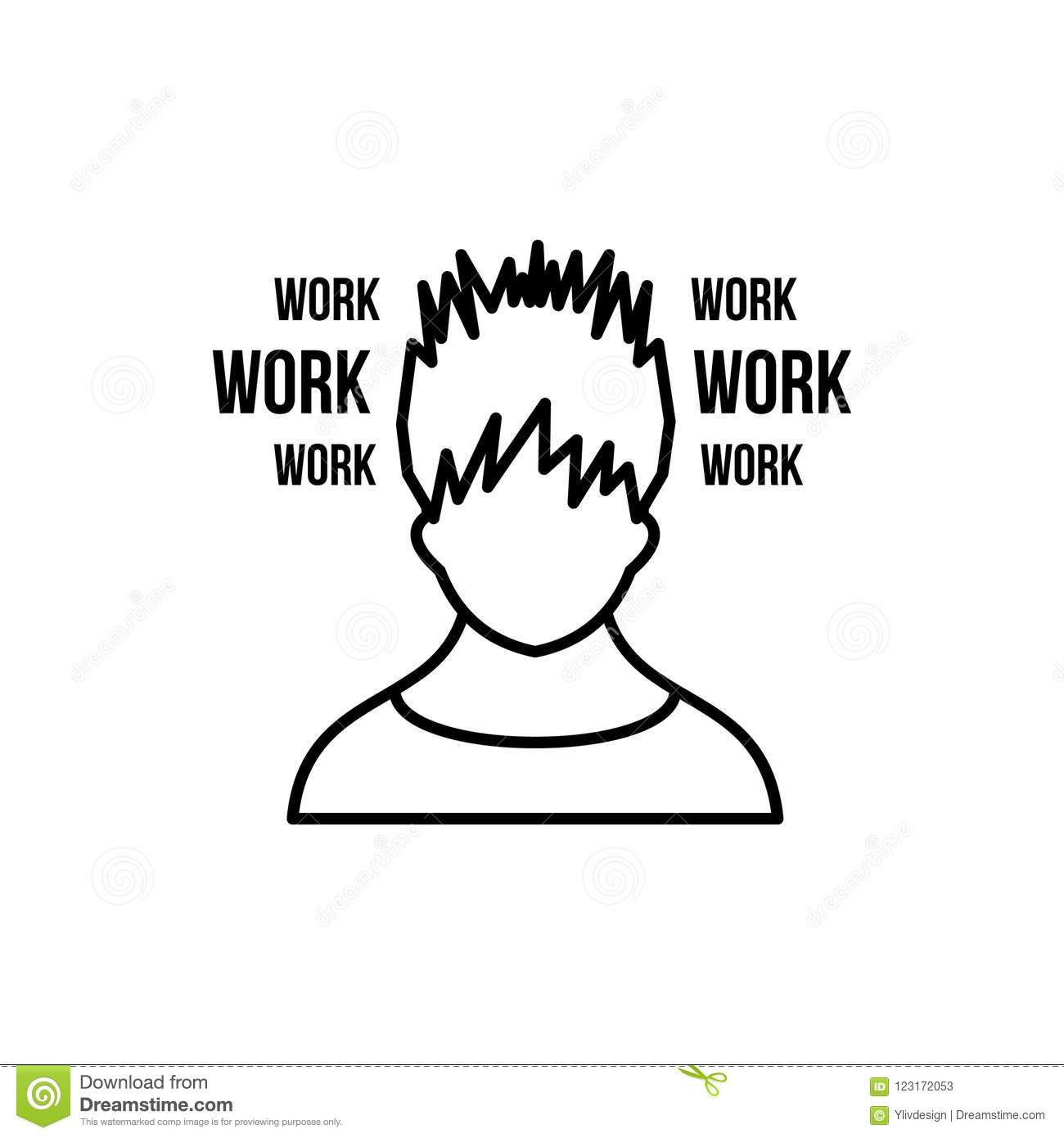 Man And Work Words Icon, Outline Style Stock Illustration