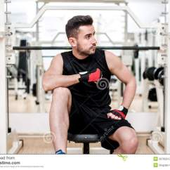 Gym Chest Chair Rattan Effect Garden Chairs Uk Man Working Out At Resting Bench Press Stock Image