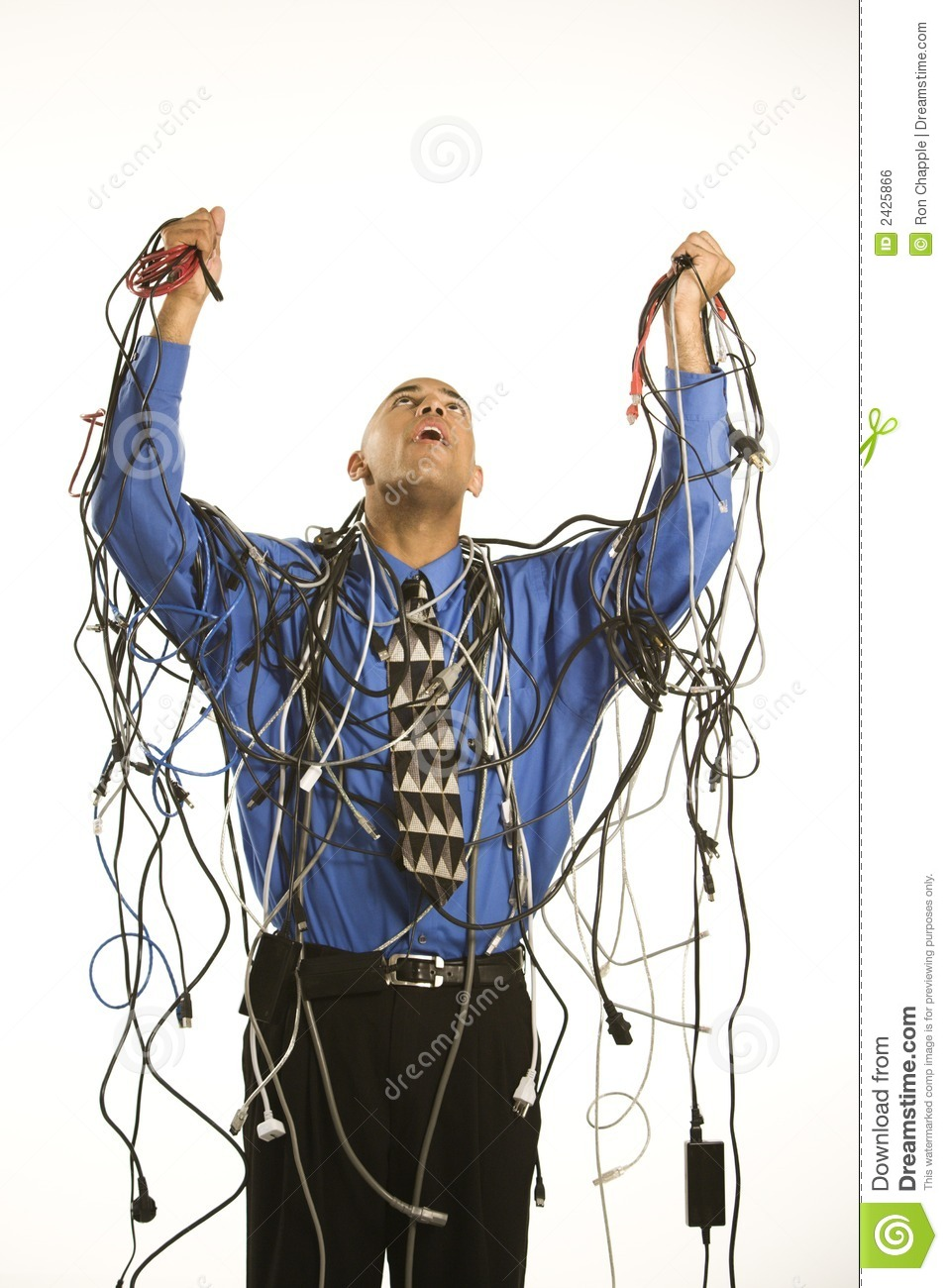 medium resolution of man wrapped in cables