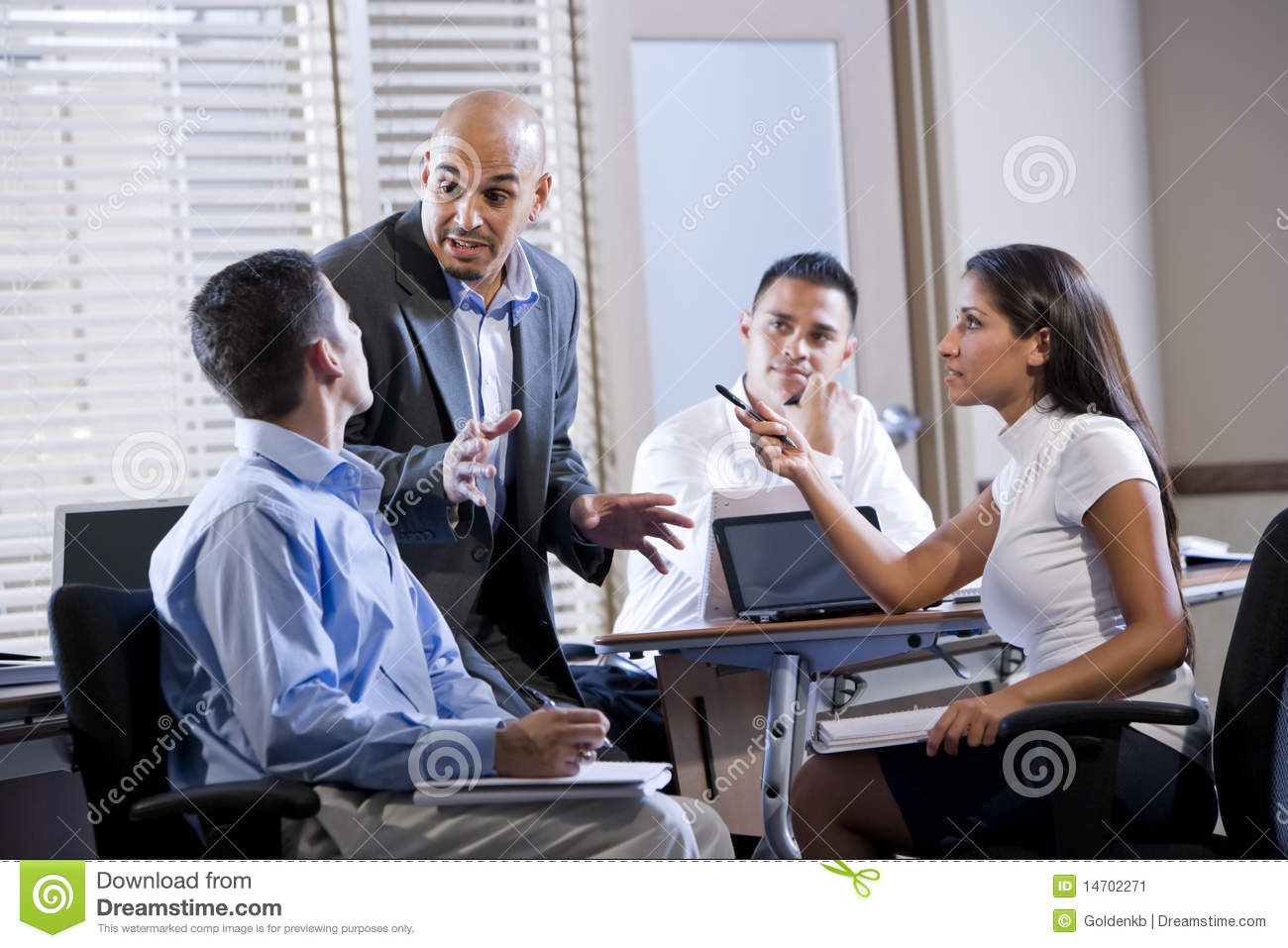 Manager Meeting With Office Workers Directing Stock Image