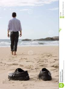 Manager Walking Barefoot Beach Royalty Free Stock