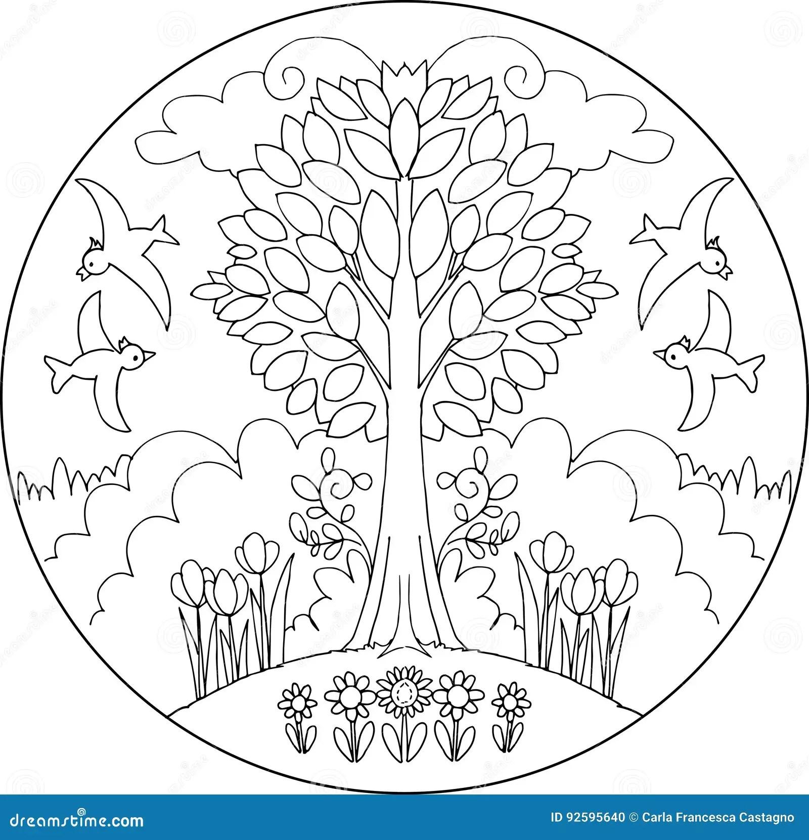 Mandala Di Vettore Dell Albero Della Primavera