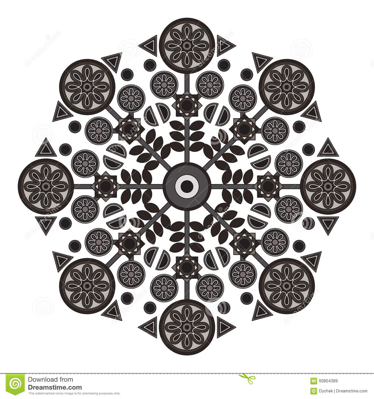 Mandala With Flowers And Geometric Shapes Stock Vector