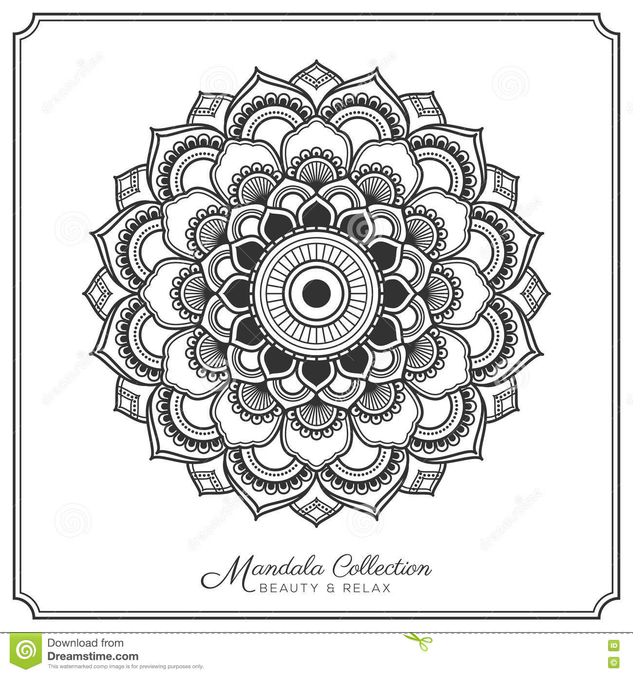 hight resolution of mandala decorative ornament design for coloring page greeting card invitation tattoo yoga and spa symbol vector illustration