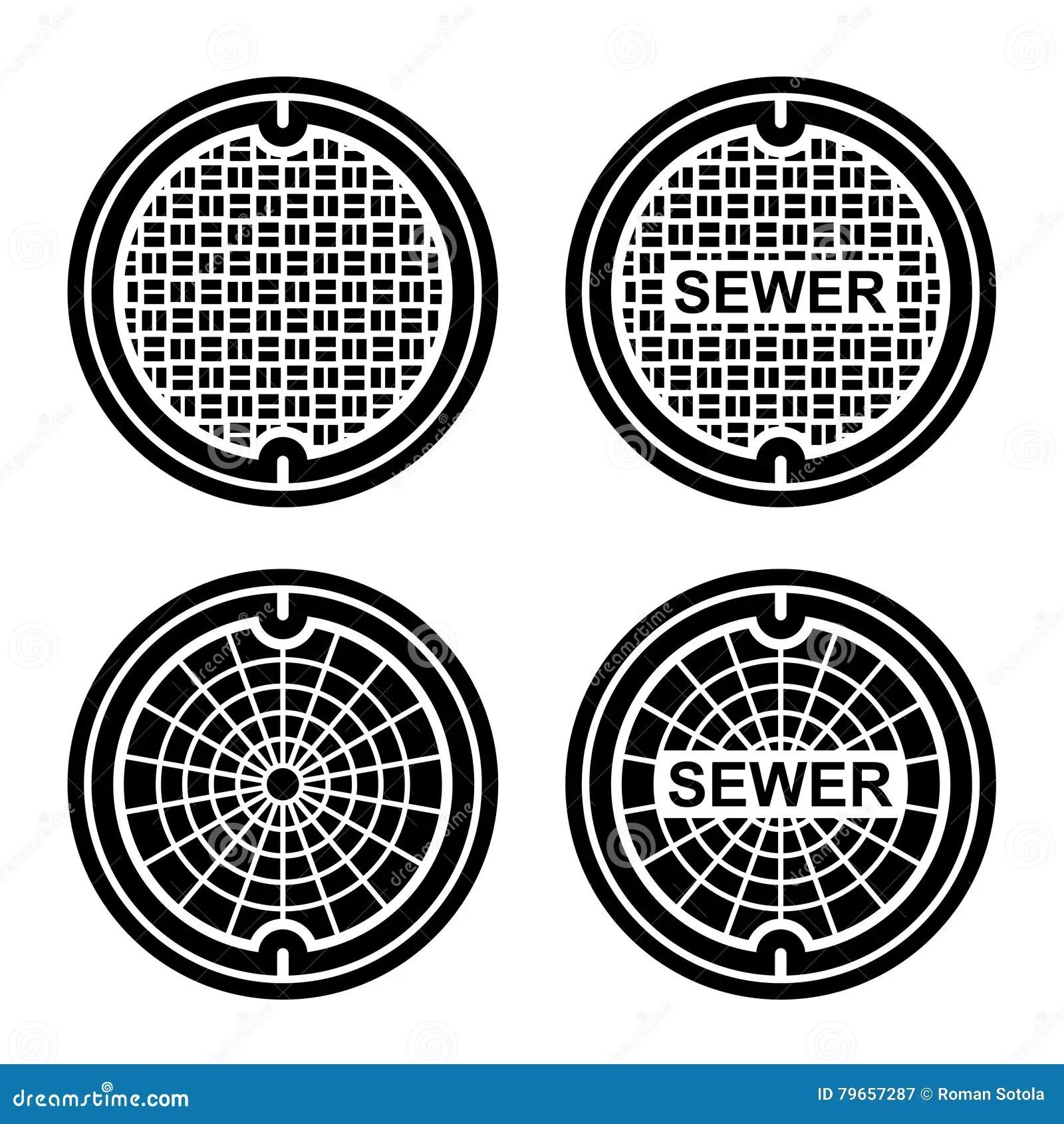 Manhole Sewer Cover Black Symbol Stock Vector
