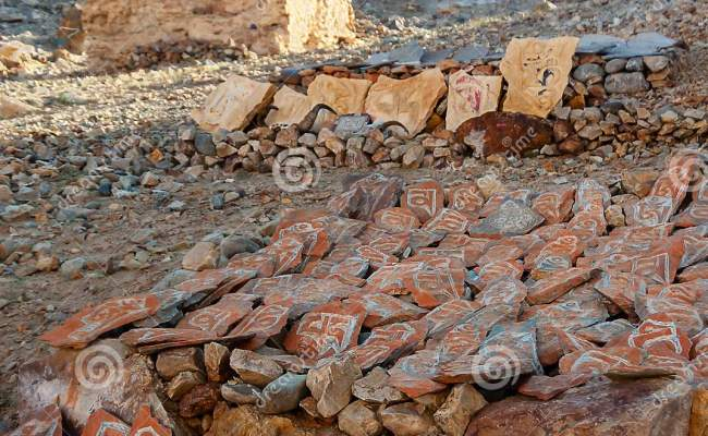Mani Stones Engraved With Tibetan Buddhism Six Syllabled