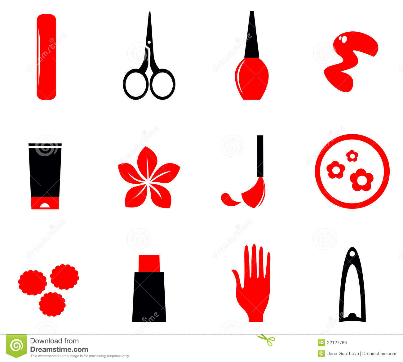 Manicure Cosmetics And Beauty Icons Royalty Free Stock