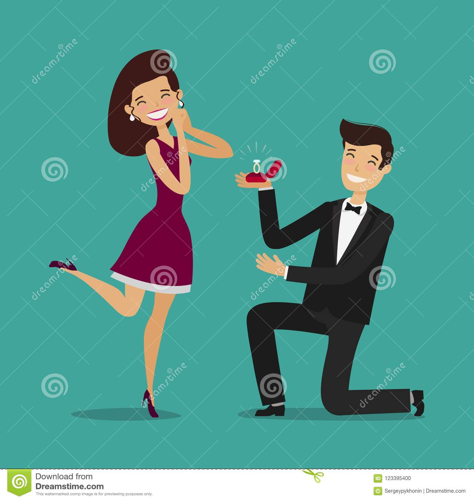Mann Schlgt Eine Frau Vor Um Zu Heiraten Hochzeit