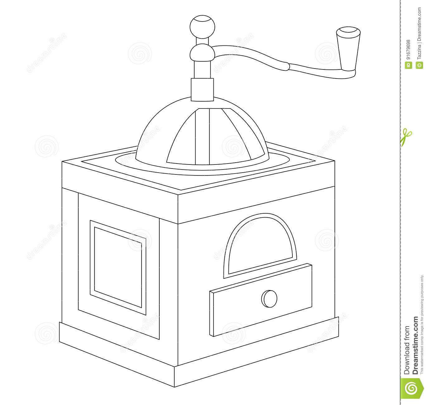 Manual coffee grinder stock vector. Illustration of