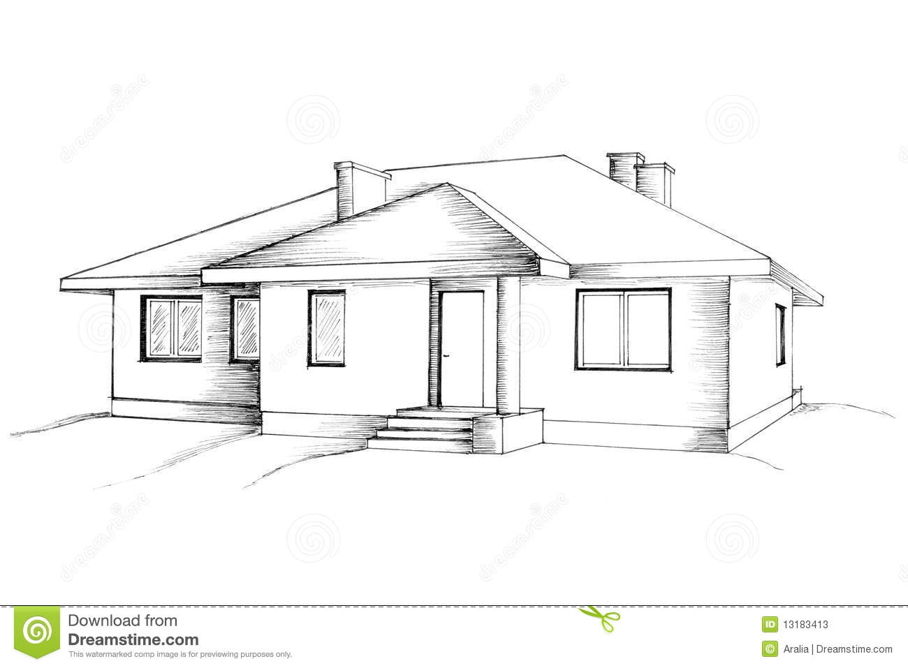 Manual Drawing Of The House Stock Illustration