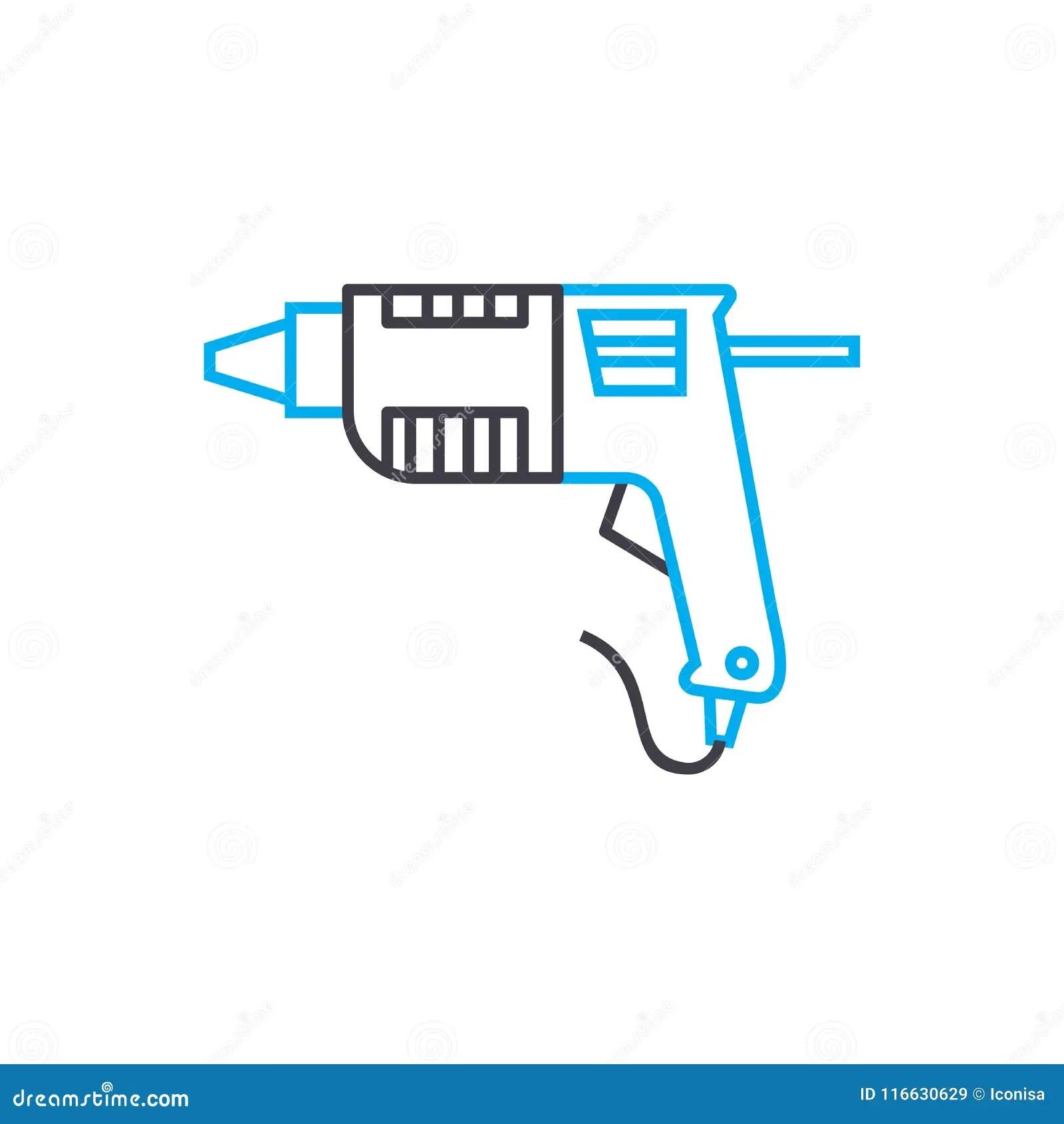 Manual Drill Vector Thin Line Stroke Icon. Manual Drill