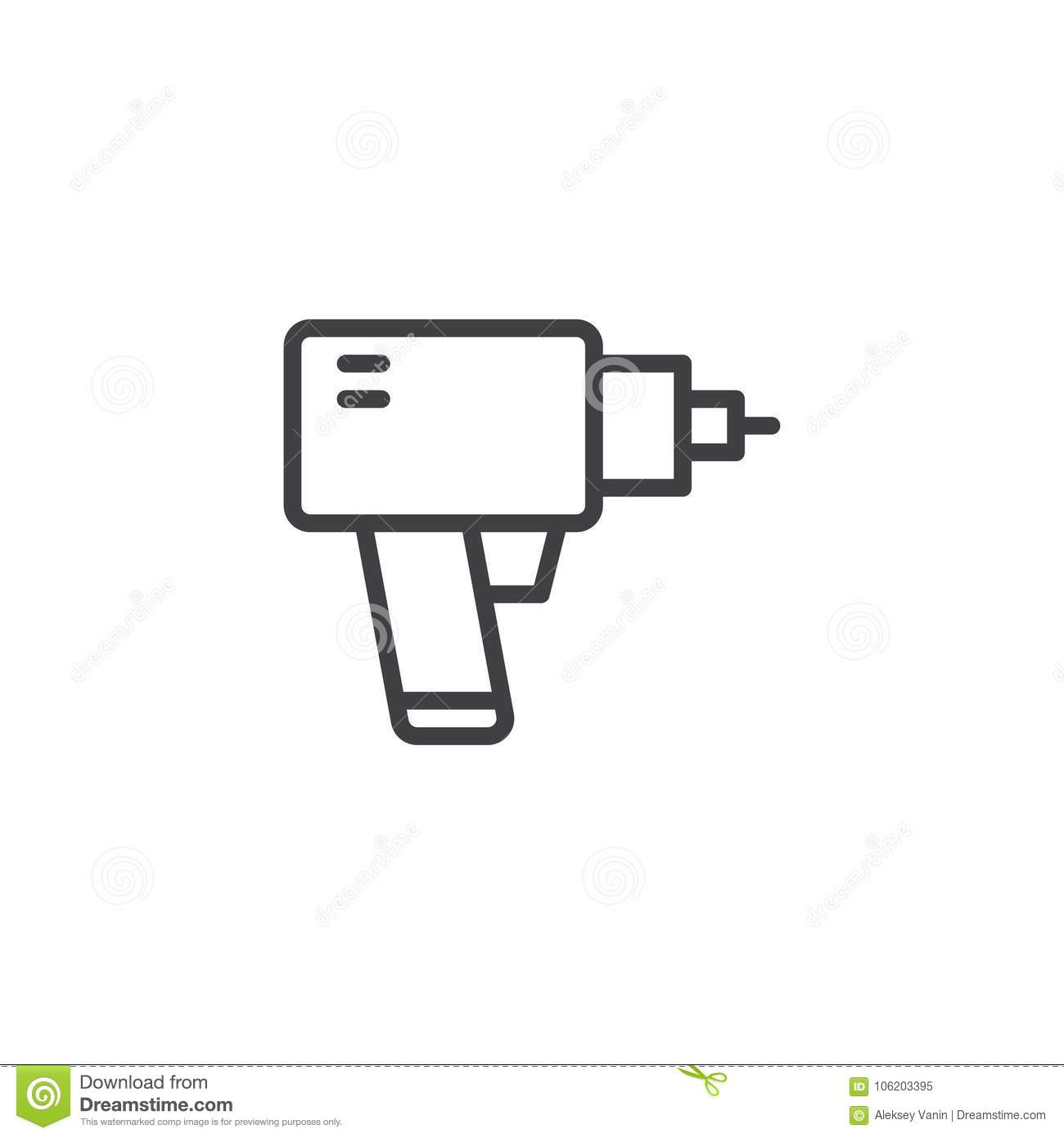 Manual Electric Driller Line Icon Stock Vector