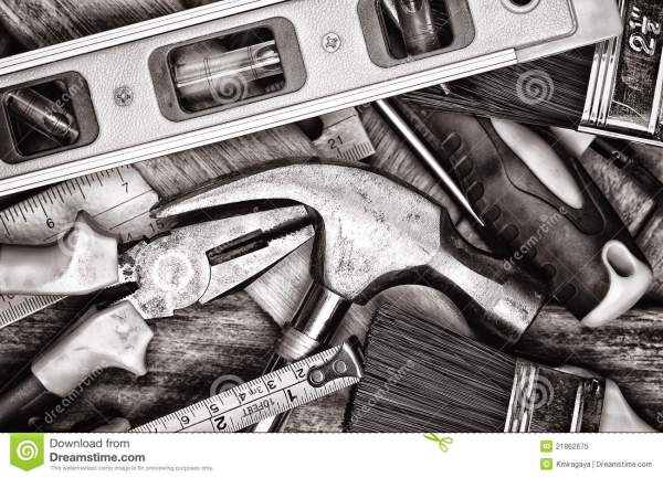 Manual Tools In Black And White Royalty Free Stock