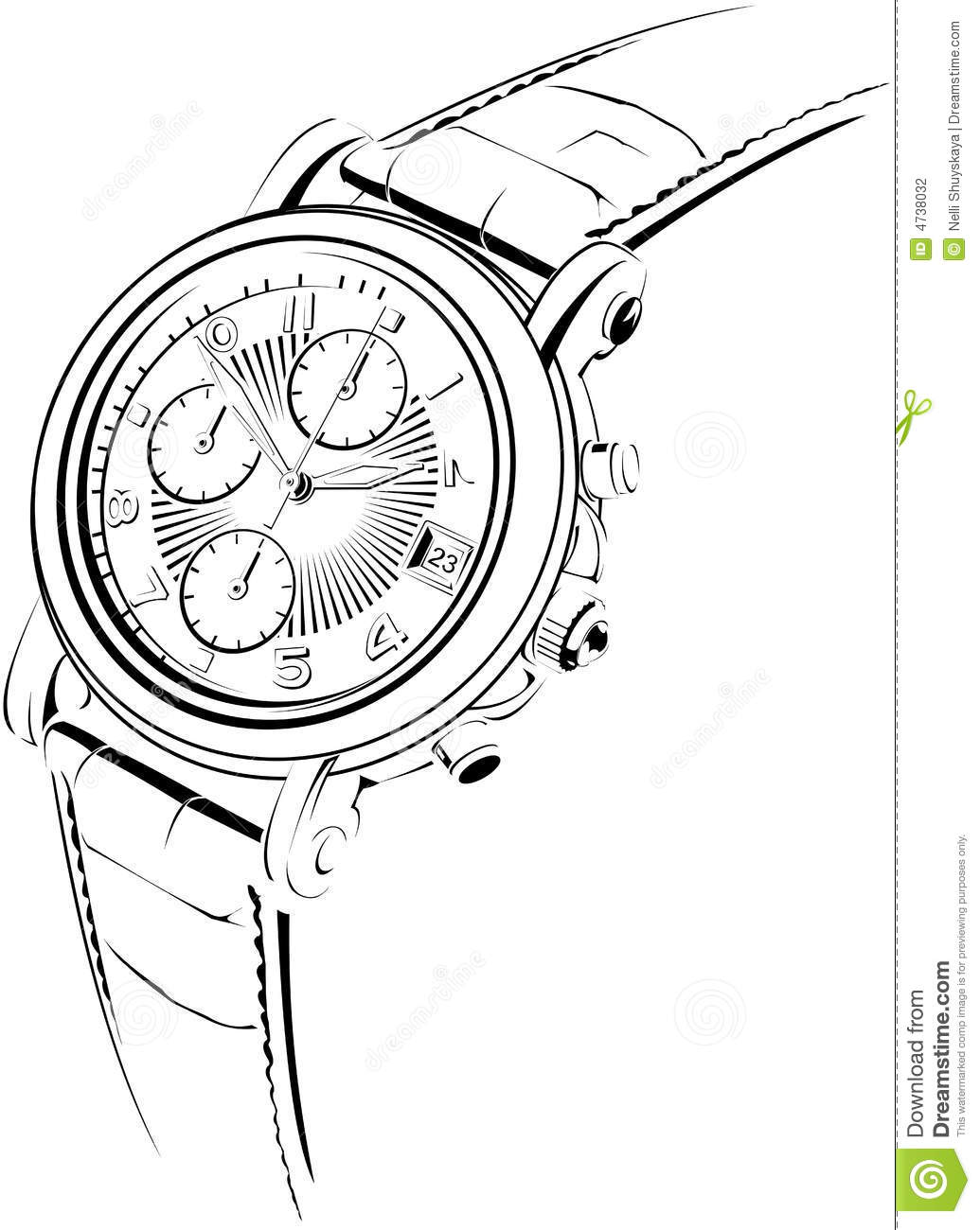 Manual watch stock vector. Illustration of history, clock