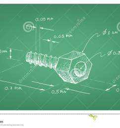manufacturing and industry illustration hand drawn sketch dimension of hex nut and screw a type of fastener with threaded hole used in conjunction with a  [ 1300 x 820 Pixel ]