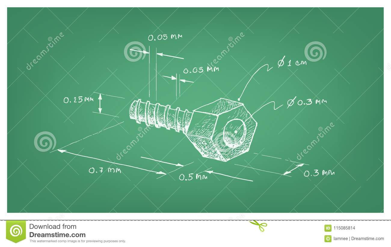 hight resolution of manufacturing and industry illustration hand drawn sketch dimension of hex nut and screw a type of fastener with threaded hole used in conjunction with a
